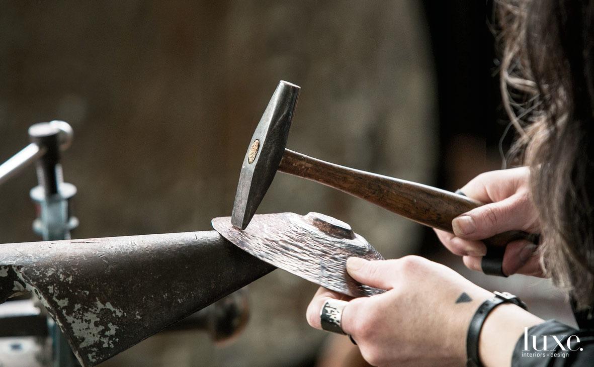 Chicago artist Laura Prieto-Velasco hand-hammers each of her bowls.