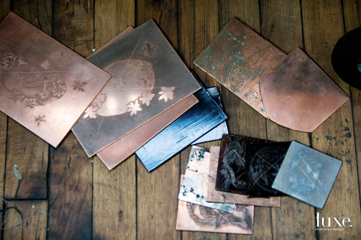 For an upcoming series, the artist will strip the coatings off copper etching plates by local printmaking artist Raeleen Kao and recycle them into sculptural copper forms.