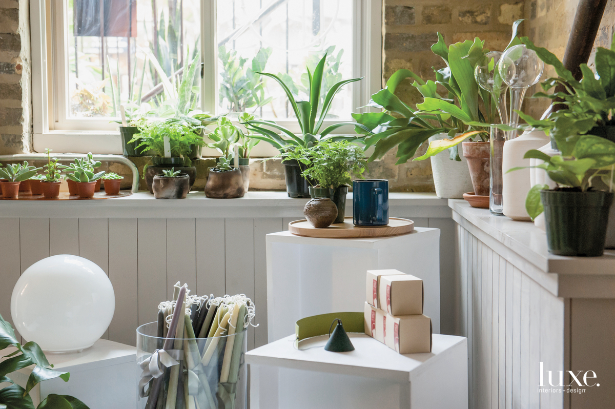 In the back of their Wicker Park shop and design studio, Field & Florist owners Kobelt and Joynt sell a range of goods, including candles and plants, and create arrangements from the flowers grown on their farm in Three Oaks, Michigan.