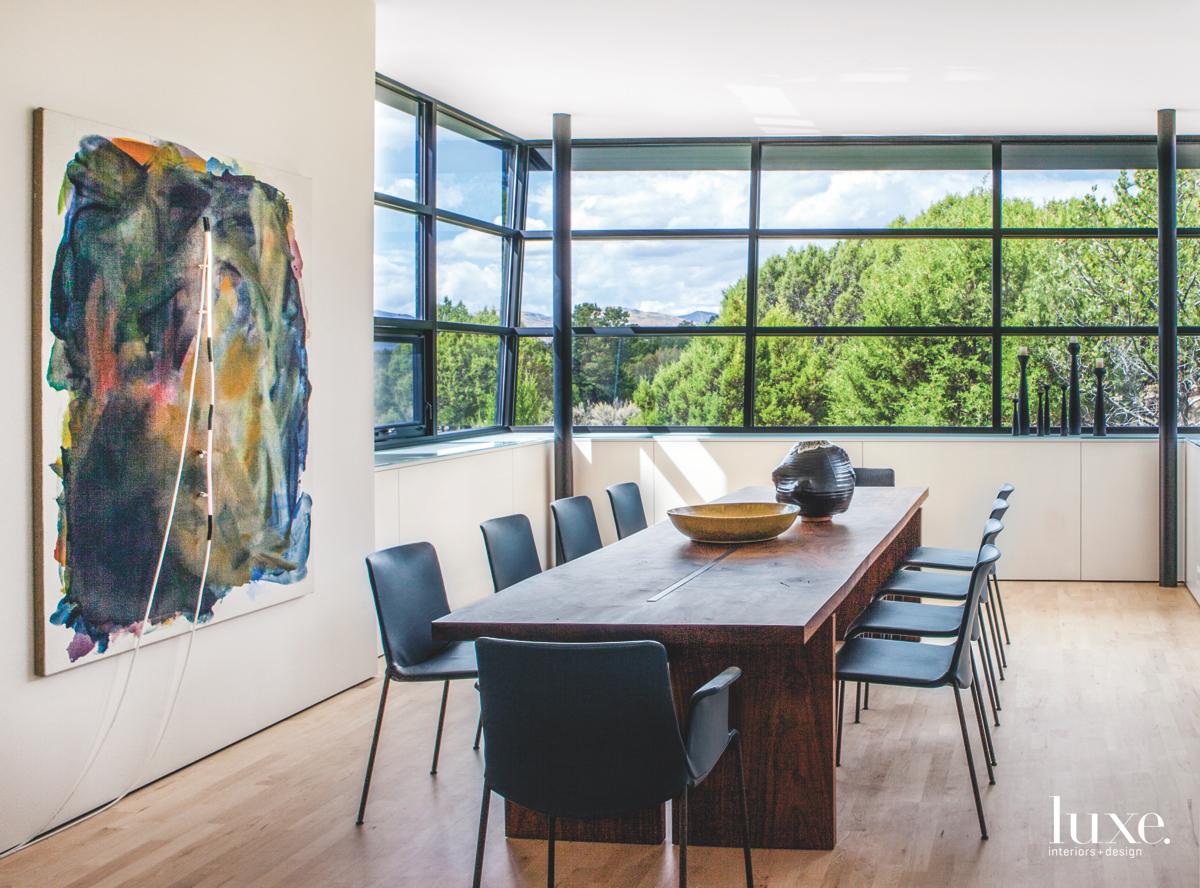 modern dining room glass windows