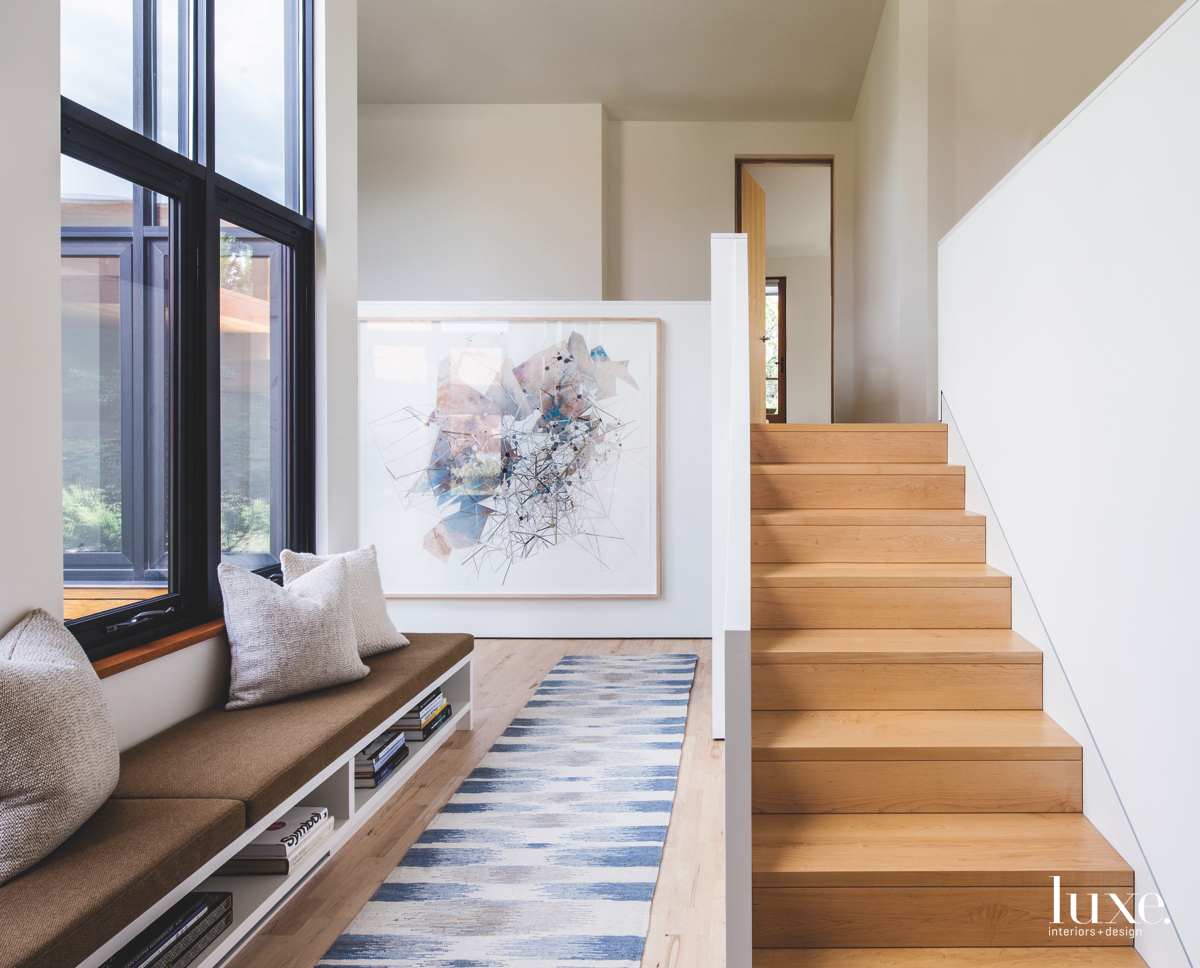 modern hall and stairs/sitting area