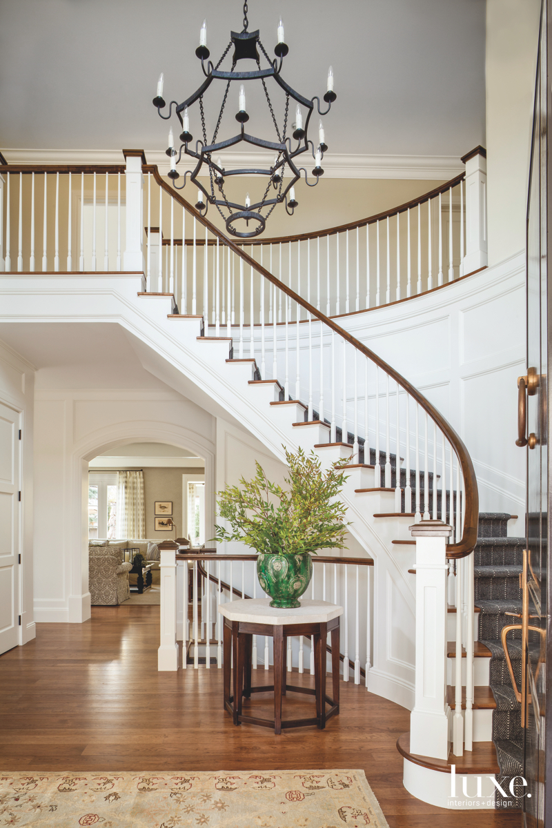traditional neutral foyer stairs green...