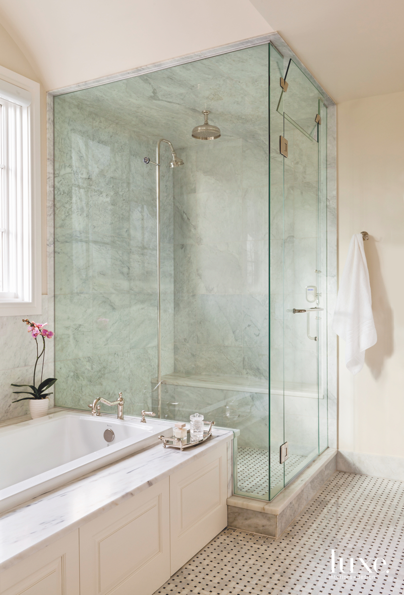 traditional white bathroom glass shower