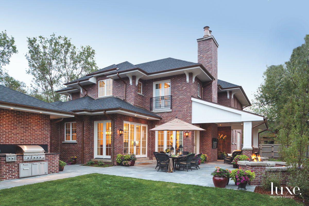 traditional brick exterior black roof