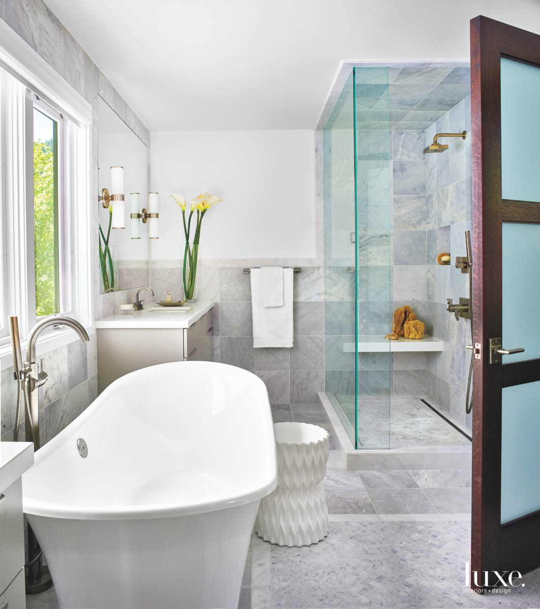 contemporary bathroom gray white glass...