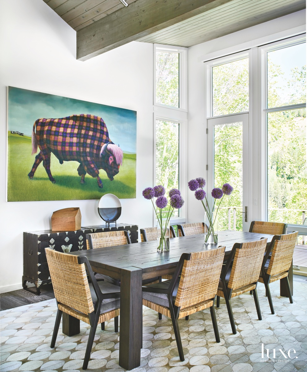 contemporary dining room wicker-and-walnut chairs
