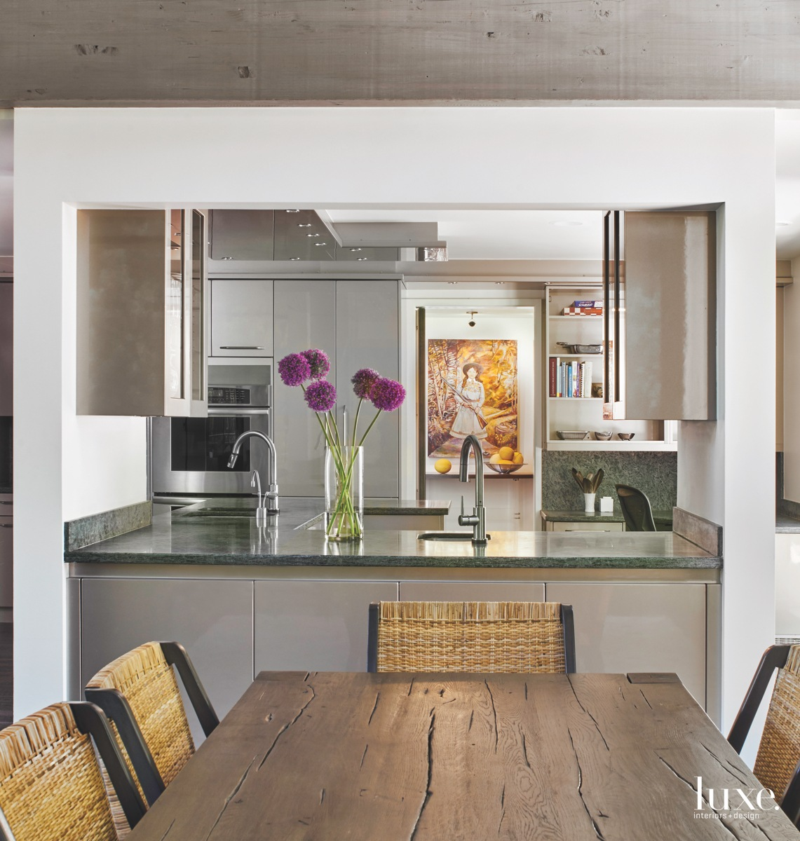 contemporary kitchen neutral silver cabinetry