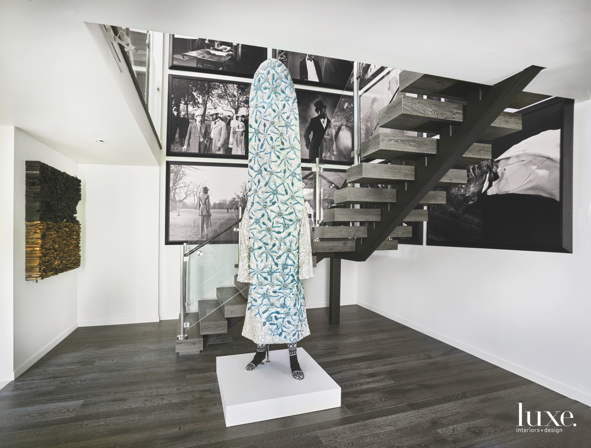 contemporary stairwell foyer blue sculpture