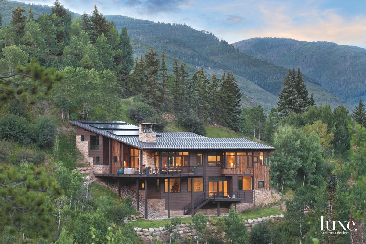 modern exterior landscape vail home
