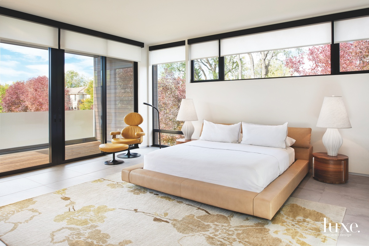 modern bedroom neutral glass windows balcony