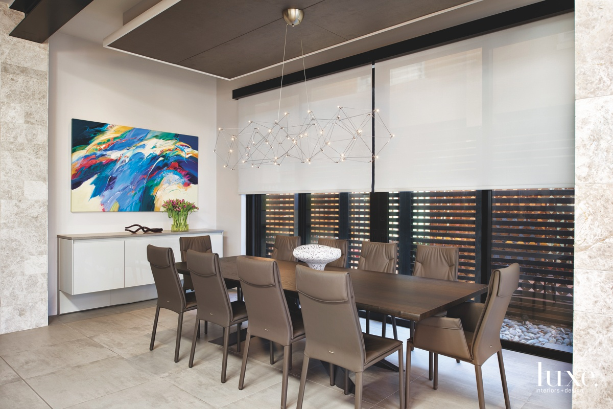 modern dining room LED chandelier brown leather chairs