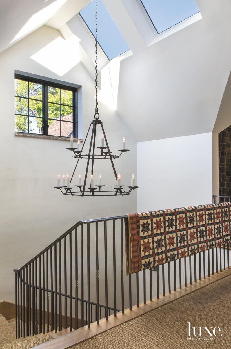 farmhouse staircase iron chandelier antique...