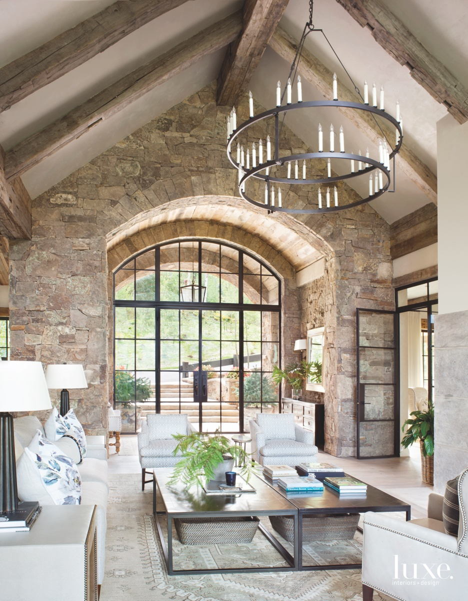 transitional entrance glass doors archway