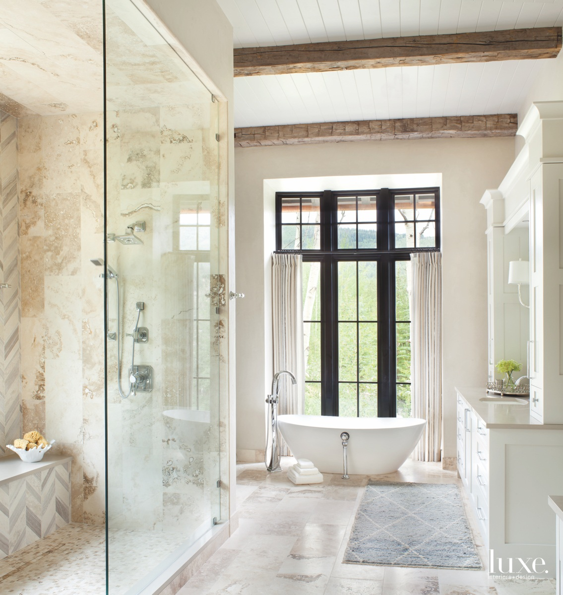 transitional neutral bathroom freestanding white...