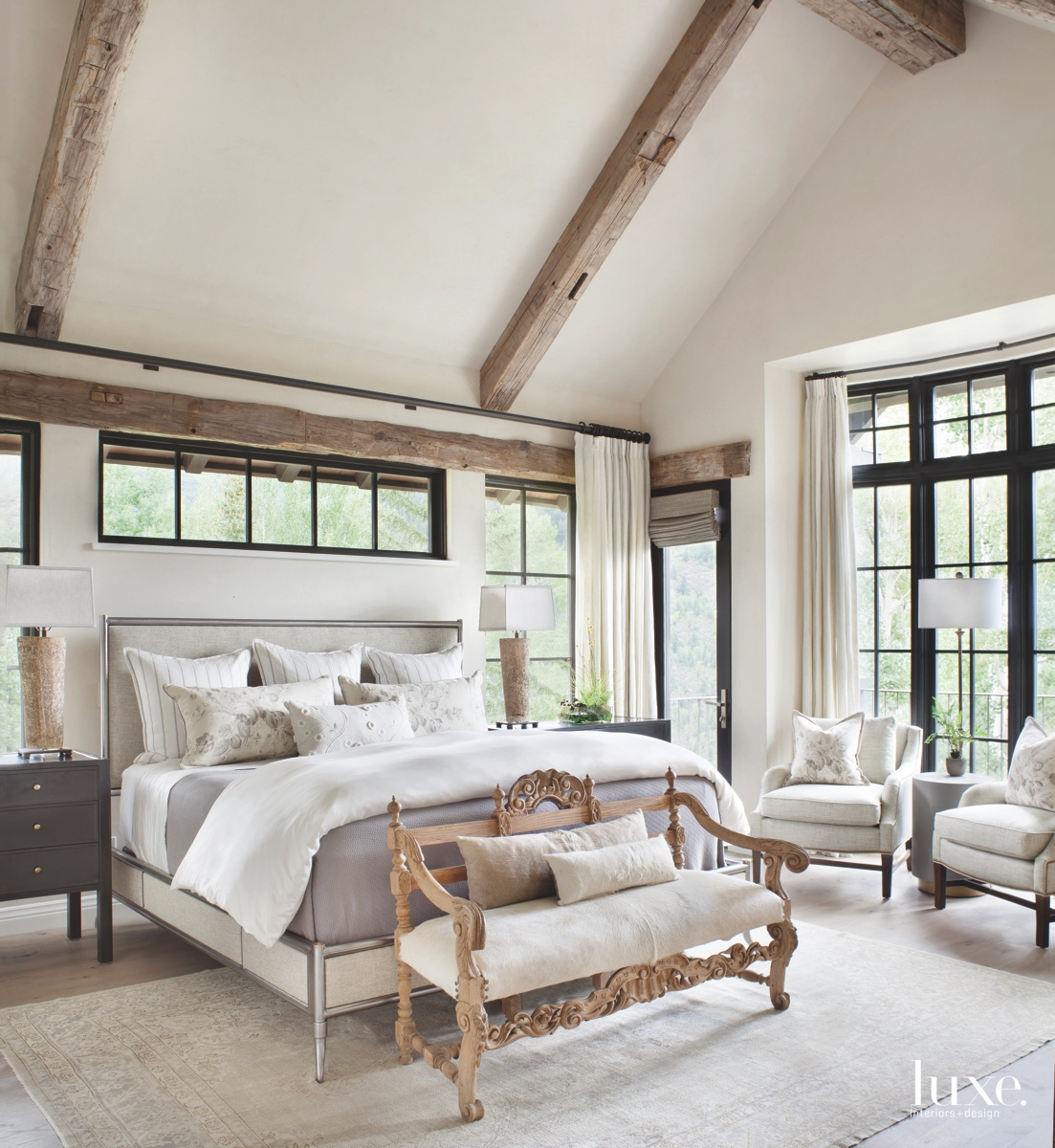 transitional neutral bedroom upholstered bed...