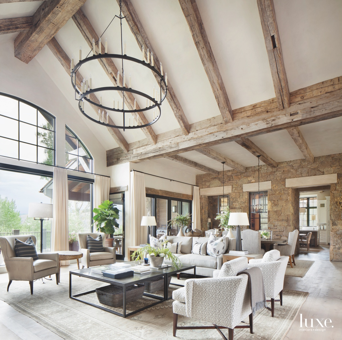 transitional living room iron chandelier...