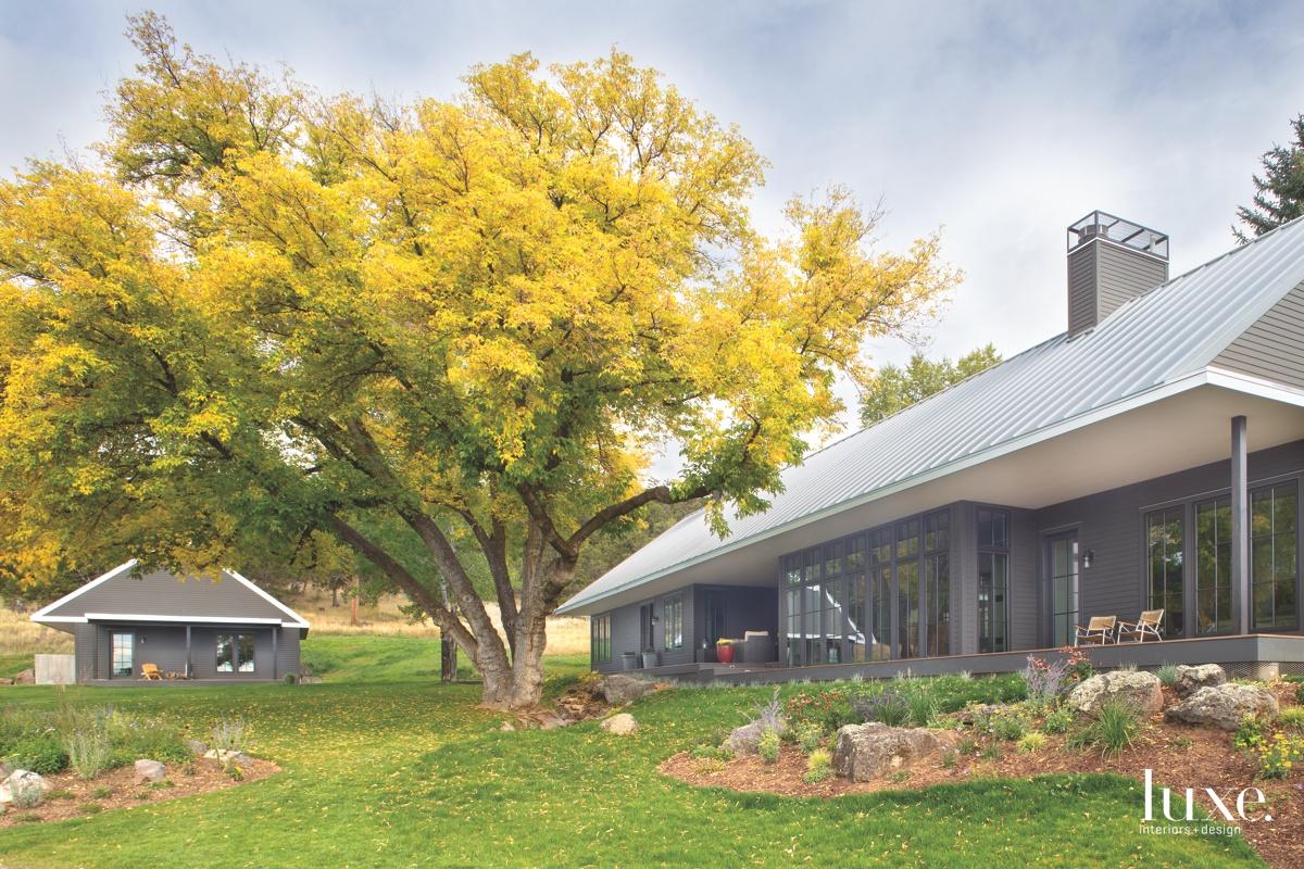 farmhouse gray exterior landscape