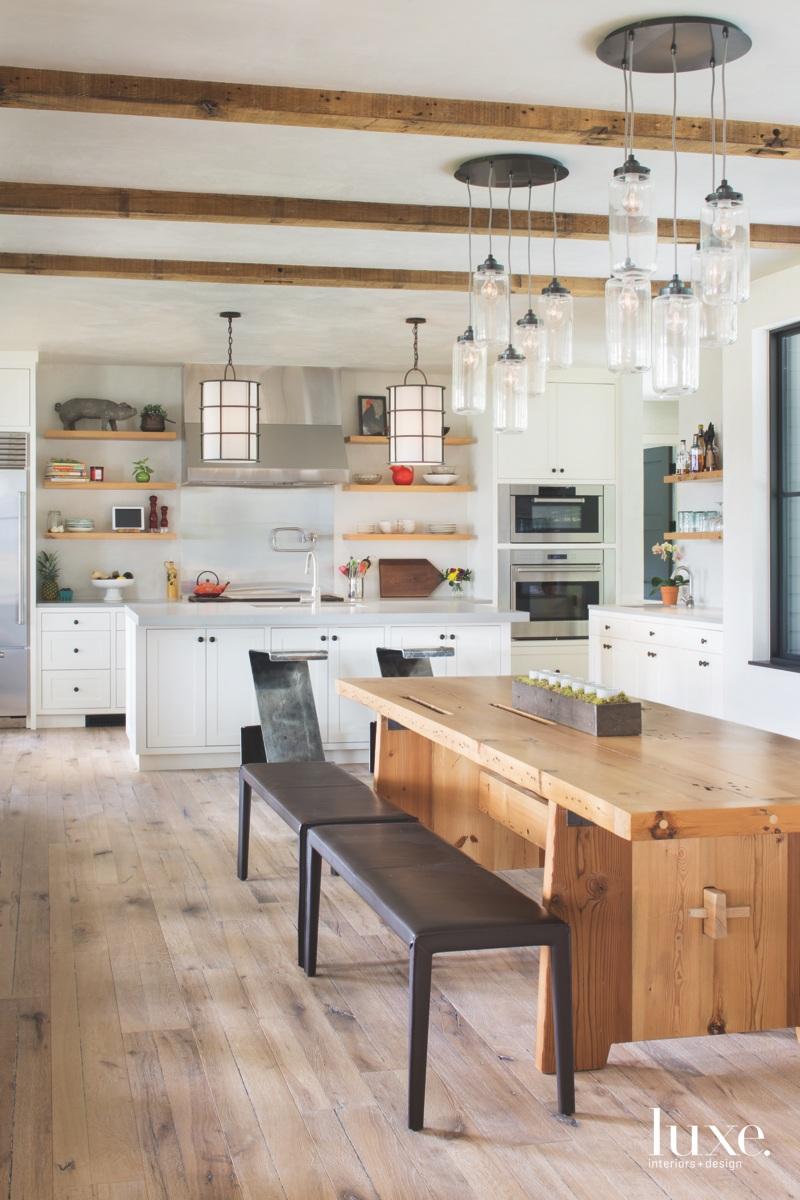 farmhouse open kitchen dining area...