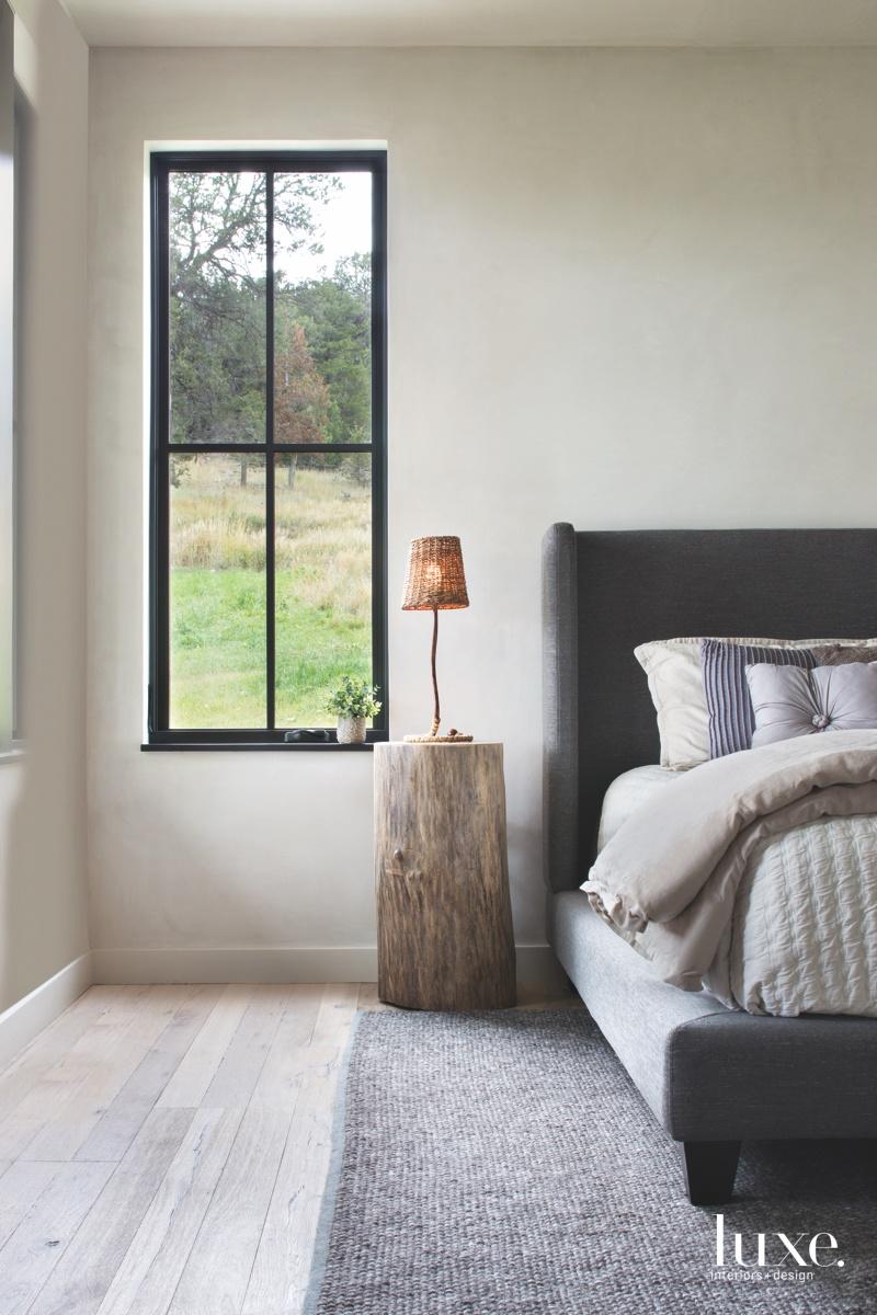 farmhouse bedroom neutral gray rug...