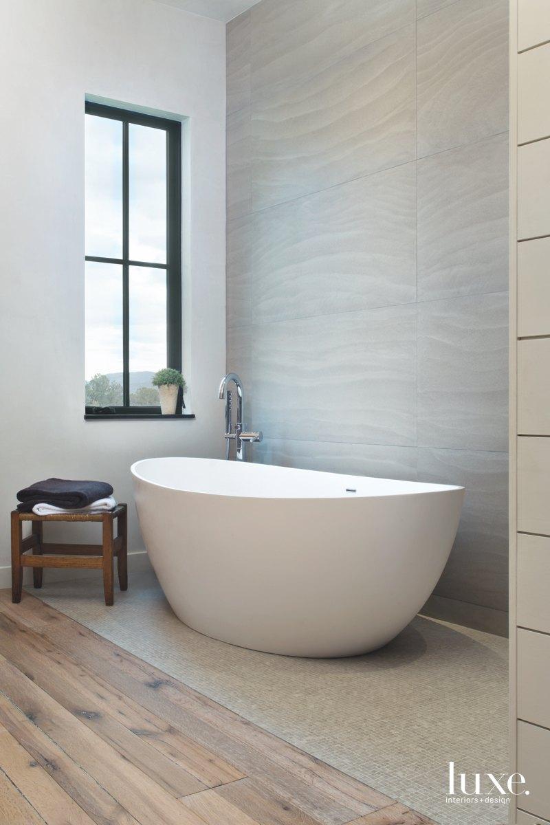 farmhouse bathroom neutral white freestanding...