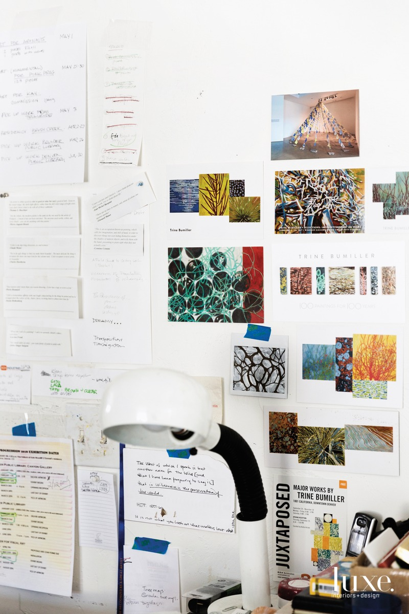he wall over the desk in Bumiller's studio holds ideas and lists.