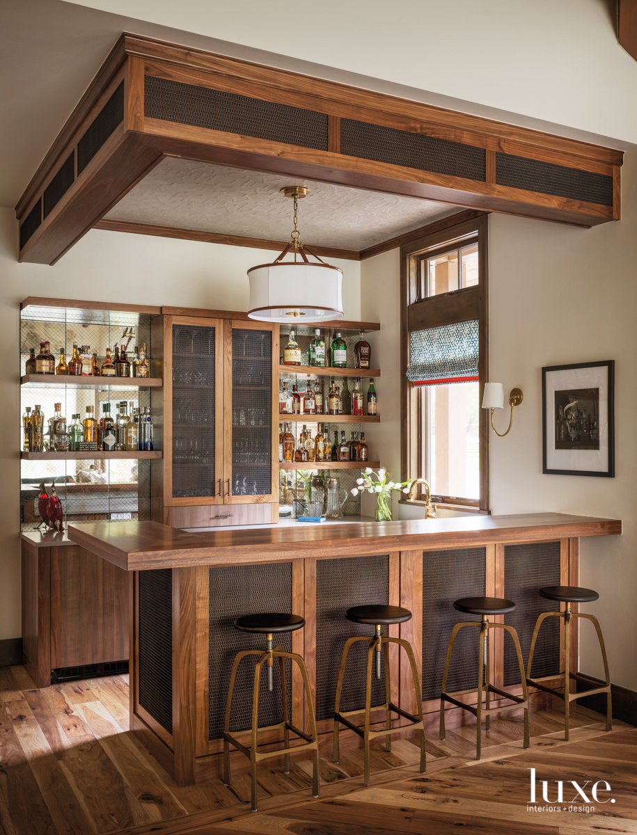 transitional brown saloon bar