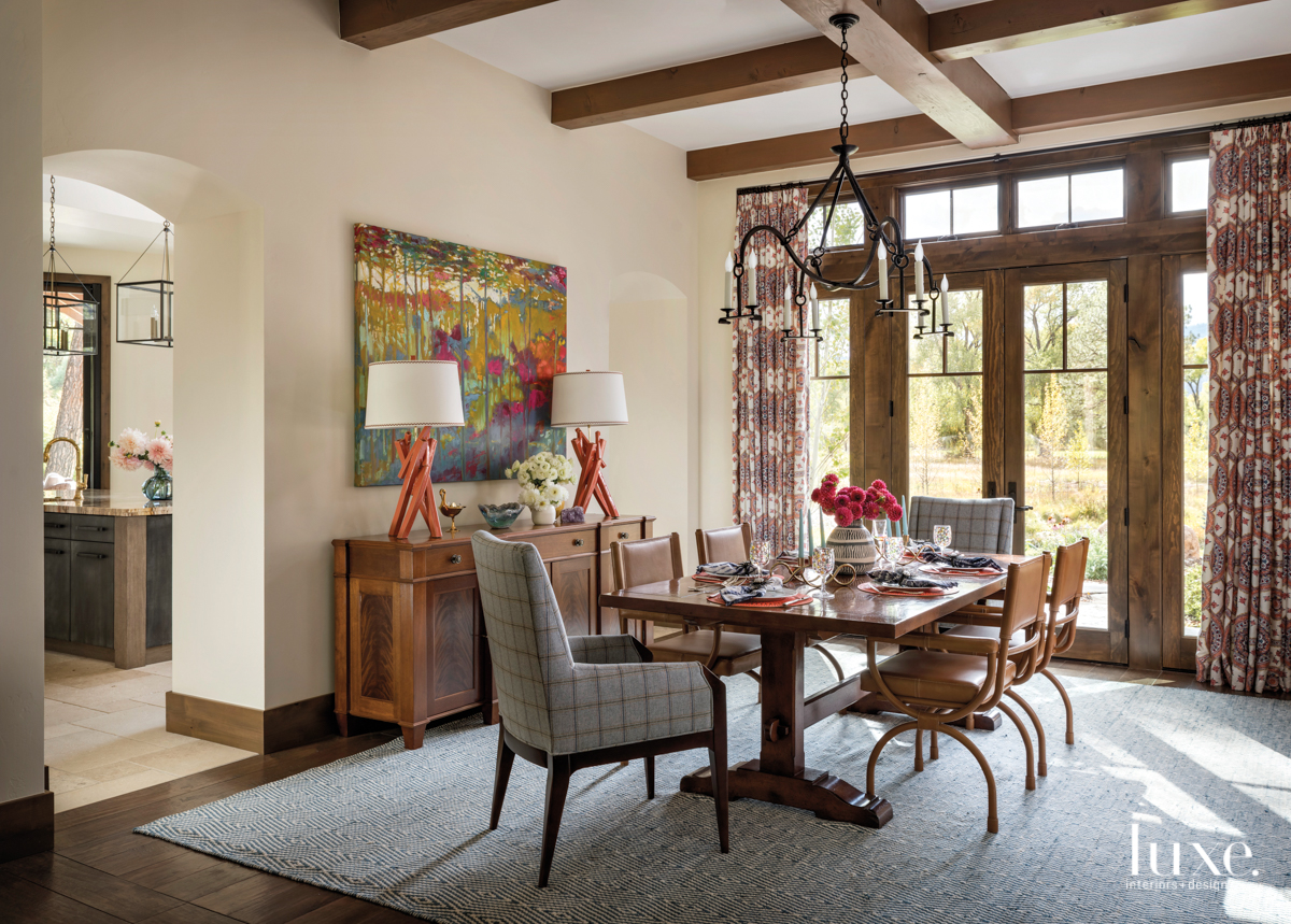 transitional dining room brown