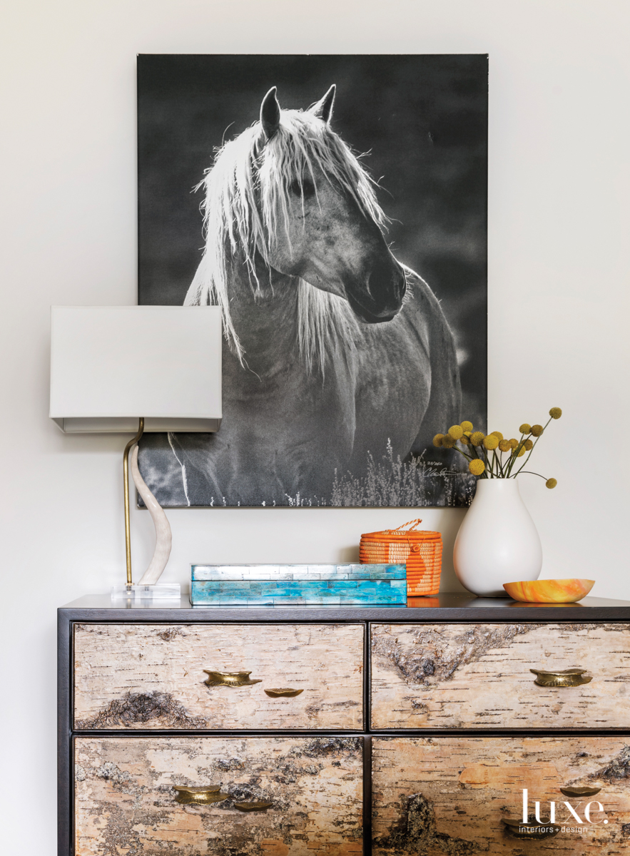transitional console and horse photograph