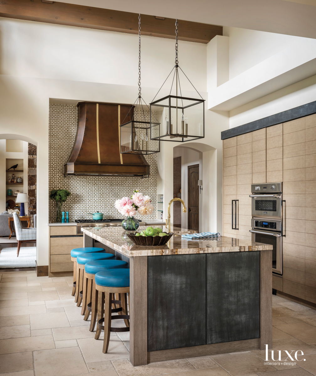 transitional neutral brown kitchen blue stools