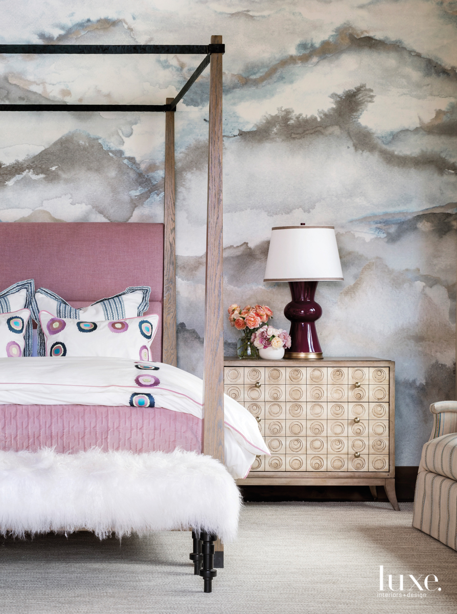 transitional bedroom pink bed