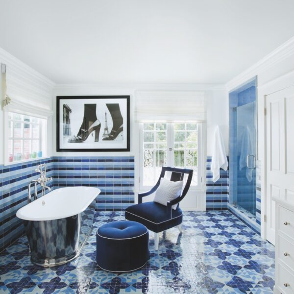 Variations Of Blue Make This Bathroom Stand Out