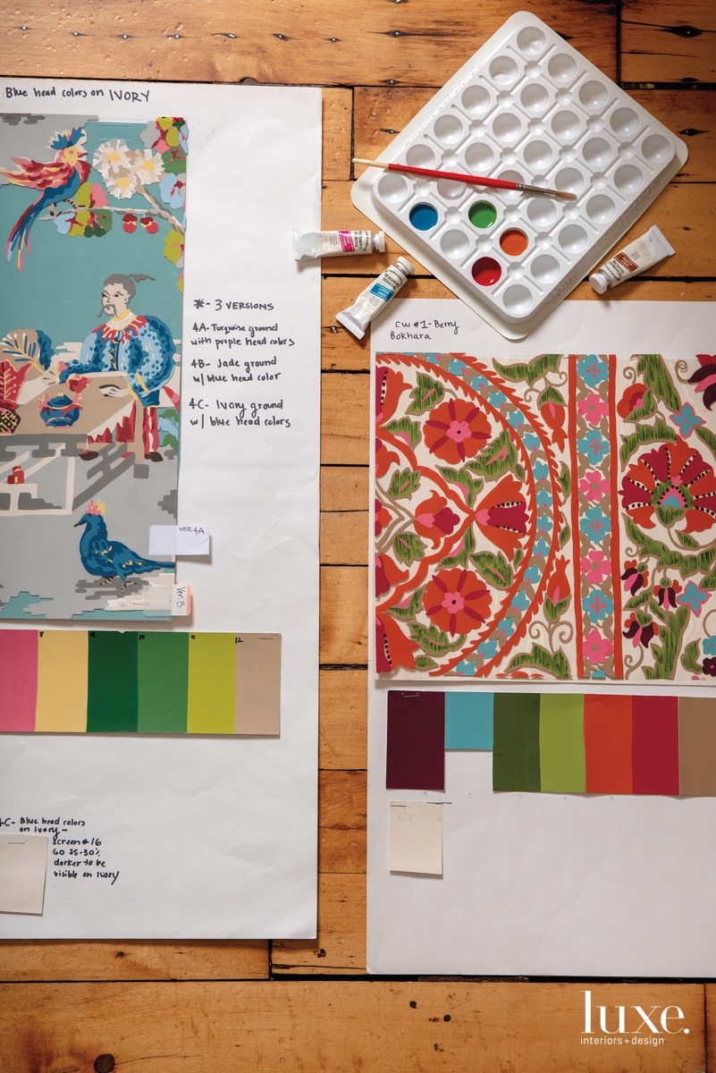 ach fabric begins as a hand-painted prototype, such as these for the Xian and the Bokhara Susani fabrics.