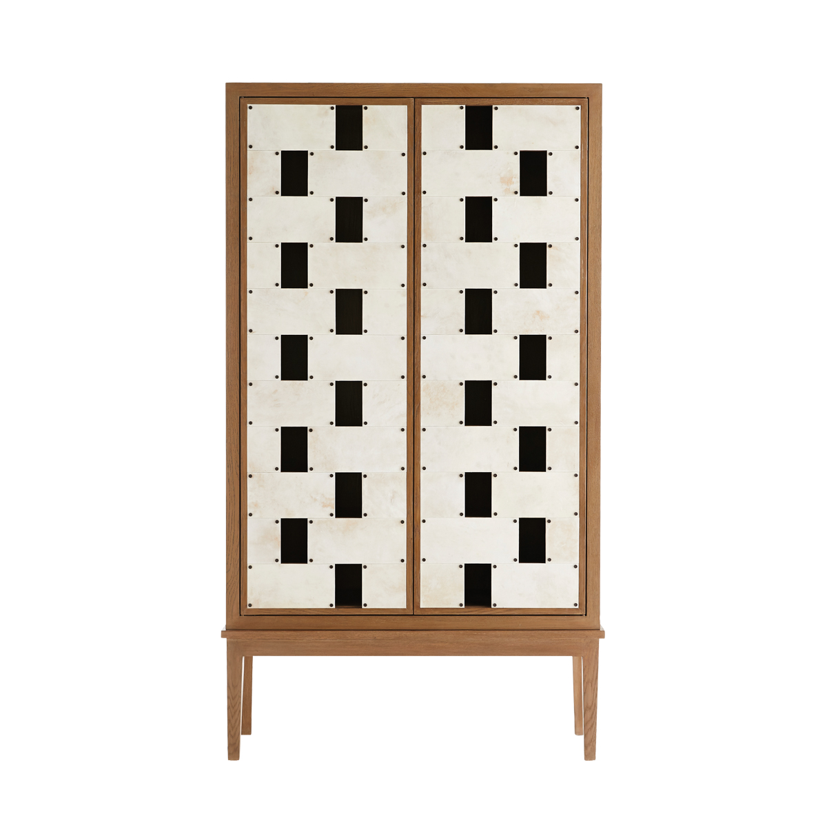 Ponterio's white-oak Salotto Cabinet, the crown jewel of the collection, was inspired by a pair of bronze doors at the Villa Necchi in Milan.