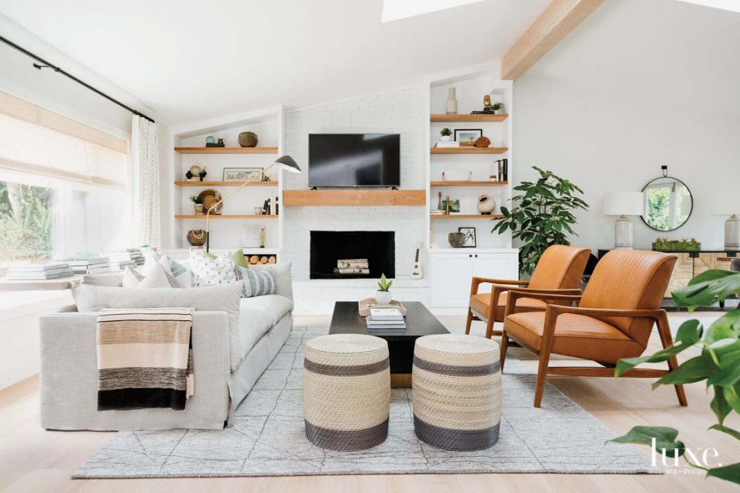 living room with open shelving...
