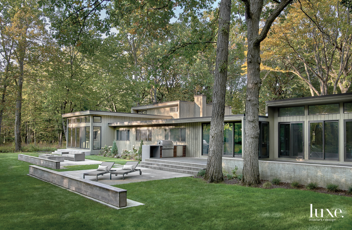 gray exterior with concrete waterfall...