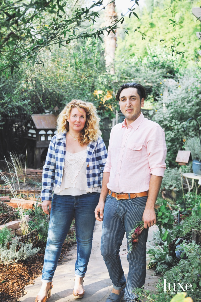ustina and Trevor Freel stand in the garden of their La Canada home and studio, where they explore a variety of artistic disciplines through their creative practice, Rose Thicket.