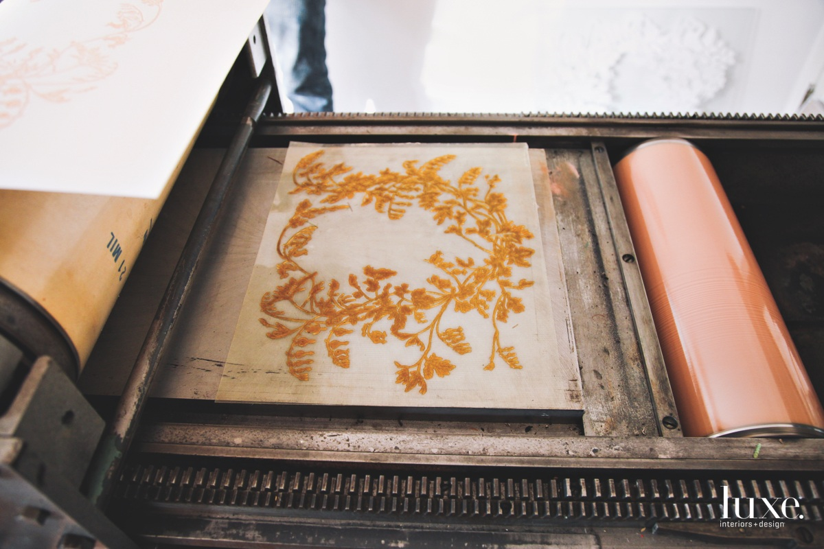 The couple does all their own relief printmaking with a 1936 press.
