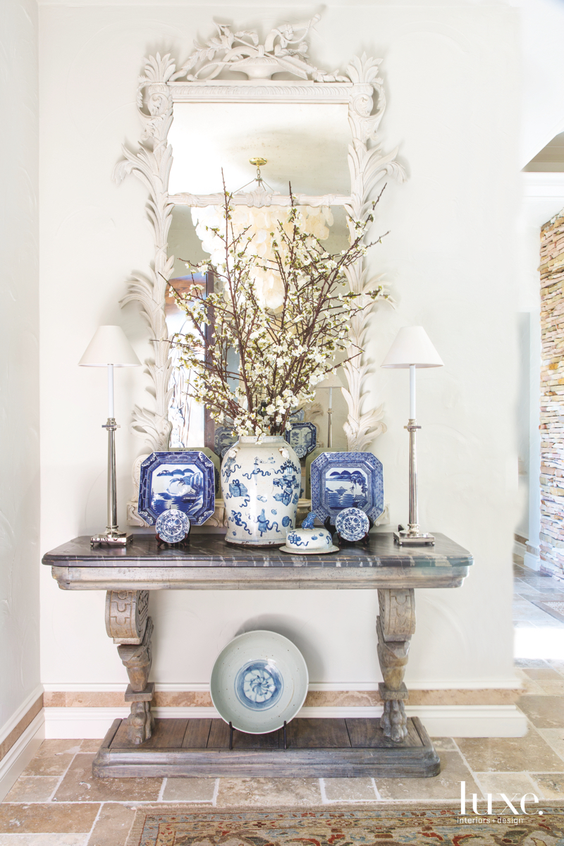 traditional hall blue china white...