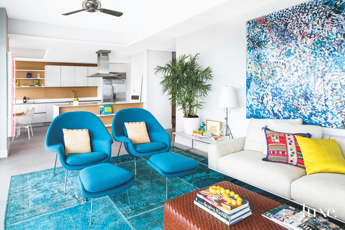 modern living room blue chairs...