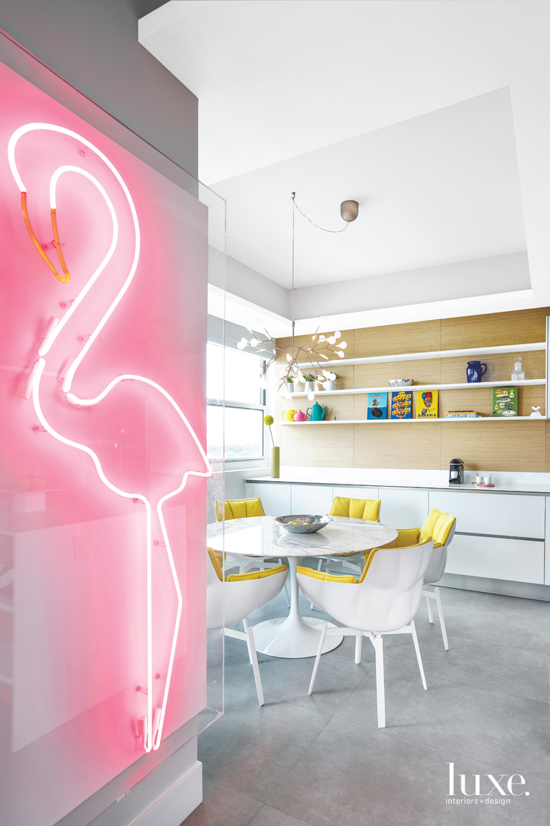 modern dining room neon flamingo...