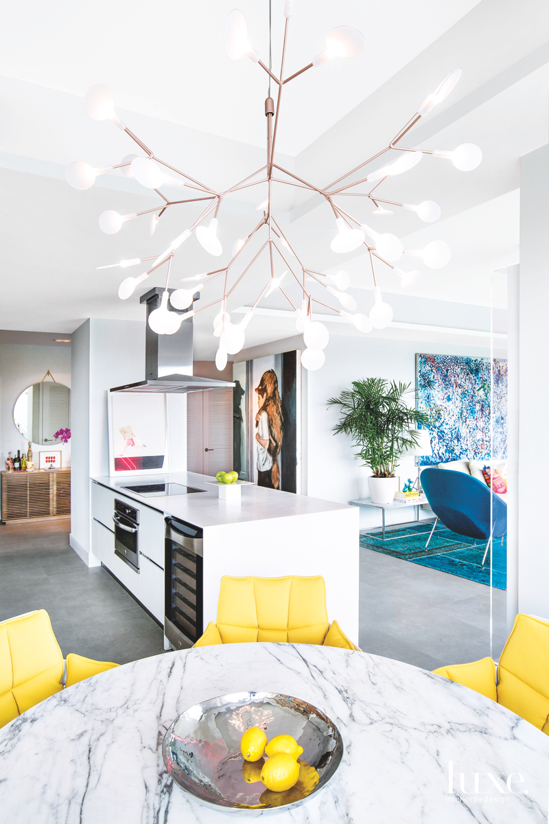modern kitchen/great room yellow and...