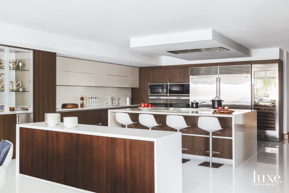 modern brown and white kitchen...