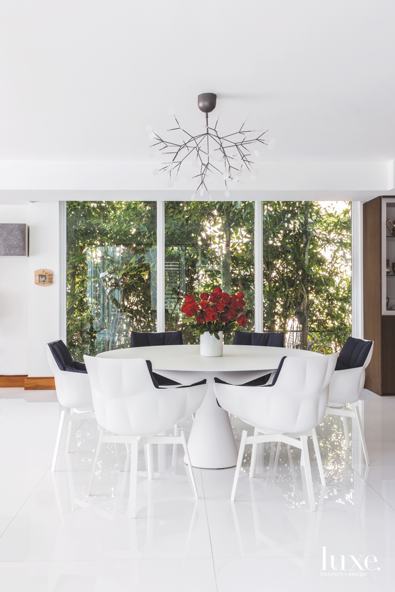 modern white dining room LED...