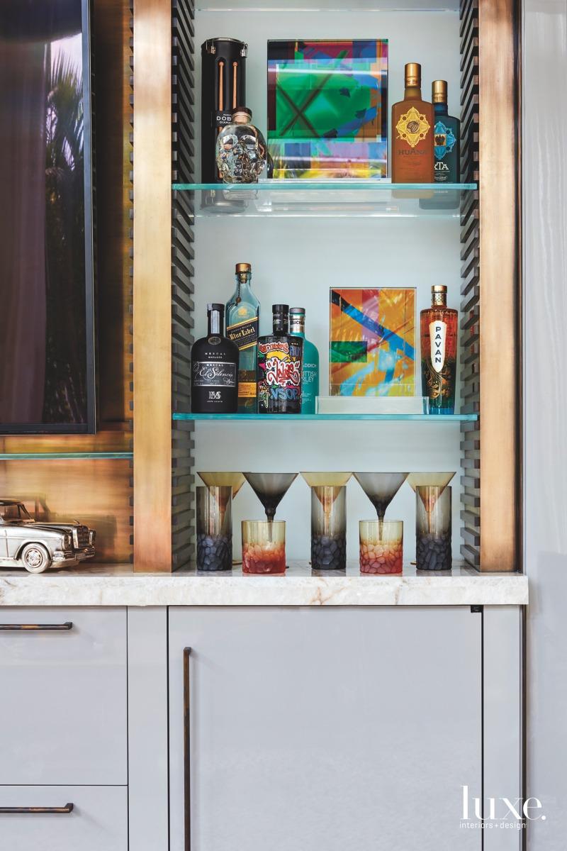 contemporary bronze wall unit multi-color