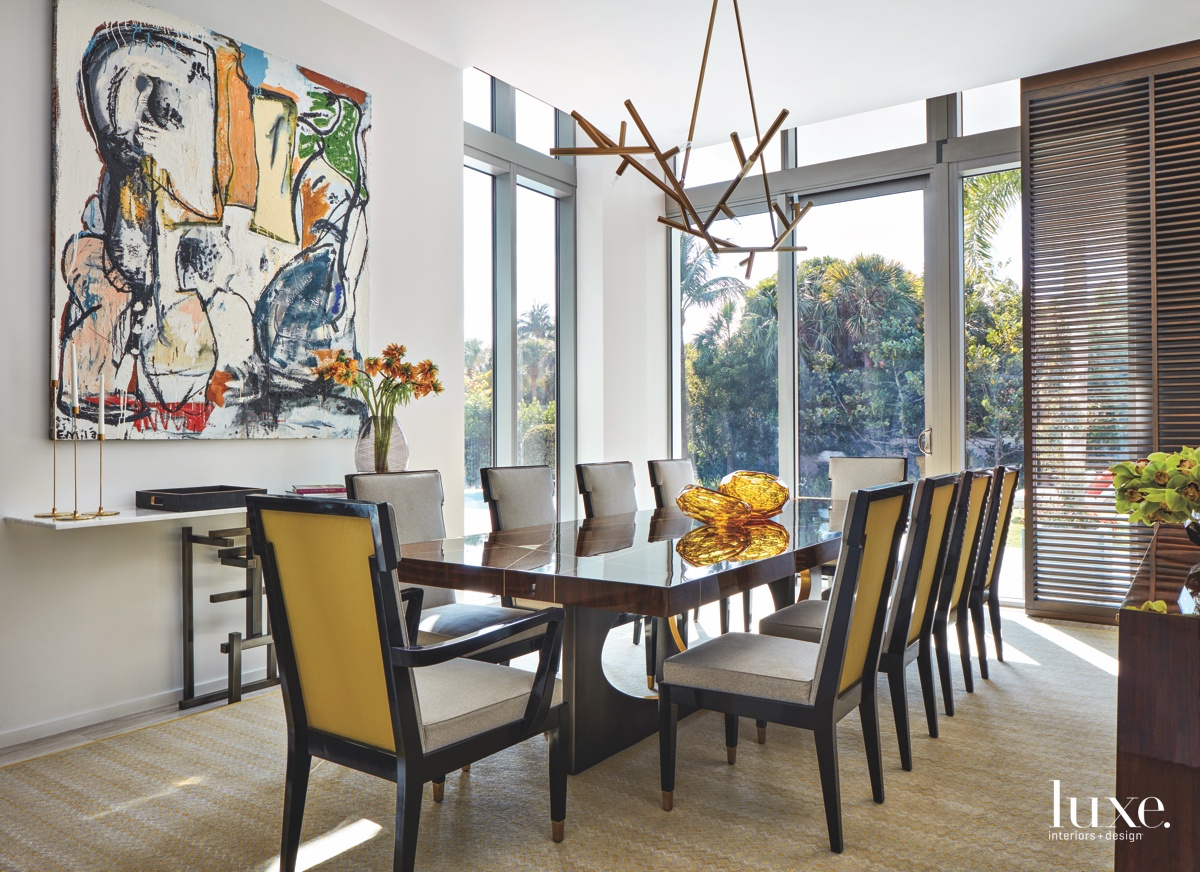 contemporary dining room yellow accents