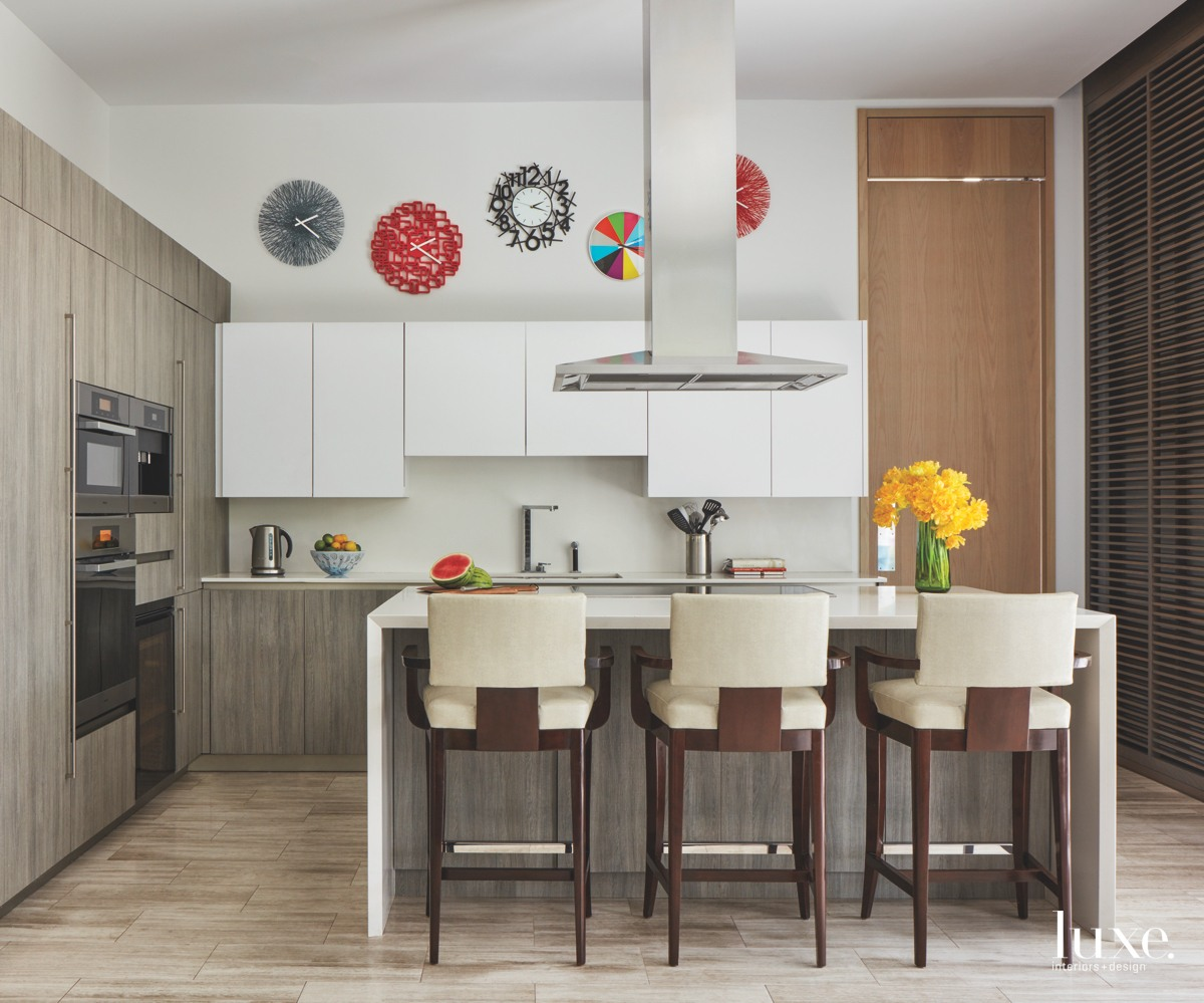 contemporary kitchen neutral palette with...