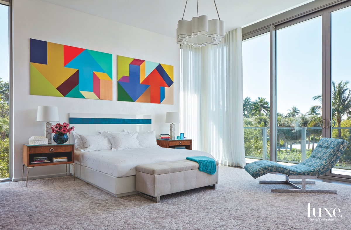 contemporary bedroom white bed multi-colored...