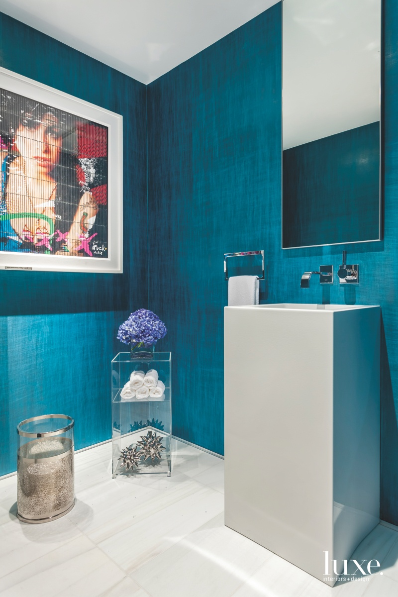contemporary powder room blue walls