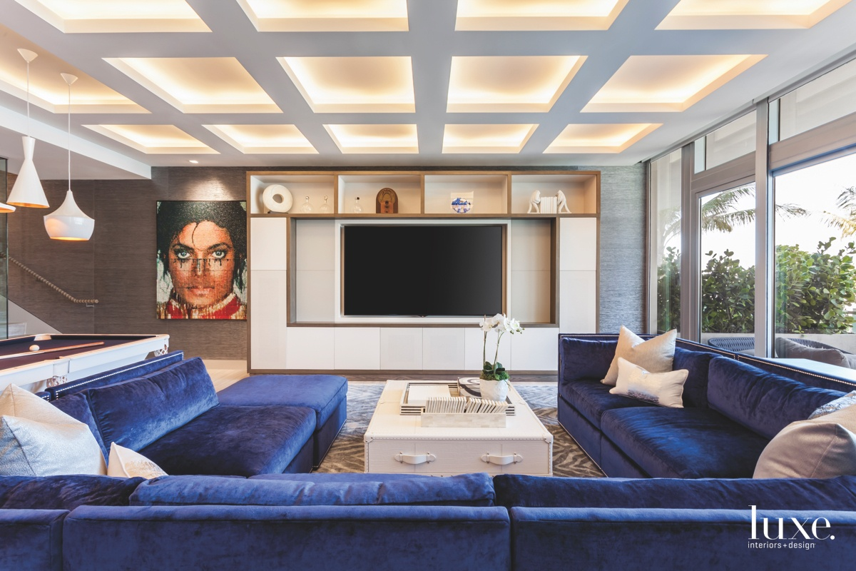 contemporary family room royal blue...