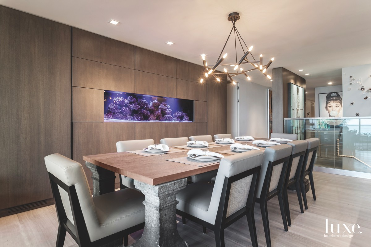 contemporary dining room fish tank...